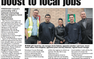Top Notch Contractors Work Closely with Wrexham Council to Boost Local Employment