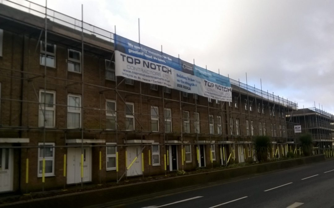 Top Notch Contractors Ltd complete major £ ¾ M external renovation project for Home Group in Whitehaven, Cumbria.
